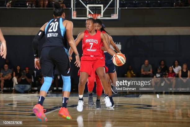 Ariel Atkins of the Washington Mystics handles the ball against the Atlanta Dream during Game Three of the 2018 WNBA Semifinals on August 31 2018 at...