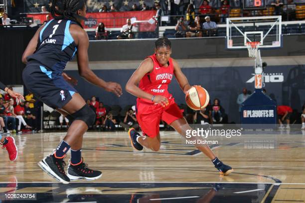 Ariel Atkins of the Washington Mystics handles the ball against the Atlanta Dream during Game Four of the WNBA Semifinals on September 2 2018 at the...