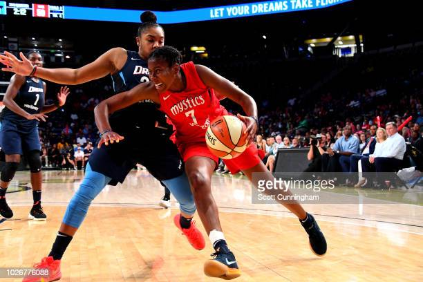 Ariel Atkins of the Washington Mystics handles the ball against the Atlanta Dream during Game Five of the 2018 WNBA Semifinals on September 04 2018...