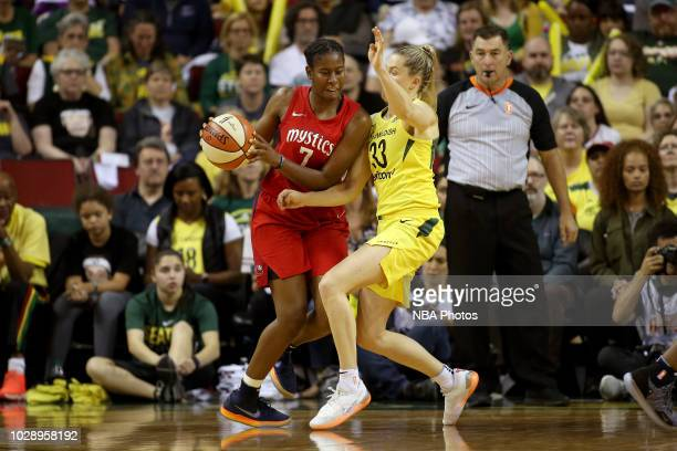 Ariel Atkins of the Washington Mystics handles the ball against the Seattle Storm during Game One of the 2018 WNBA Finals on September 7 2018 at Key...
