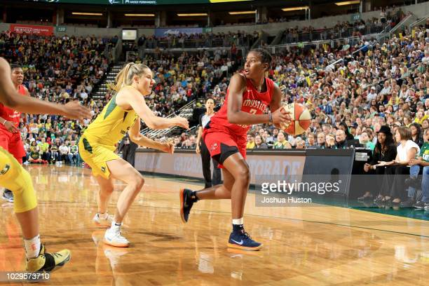 Ariel Atkins of the Washington Mystics handles the ball against the Seattle Storm during Game One of the 2018 WNBA Finals on September 07 2018 at...
