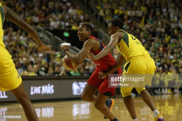 Ariel Atkins of the Washington Mystics handles the ball against the Seattle Storm during Game Two of the 2018 WNBA Finals on September 9 2018 at Key...