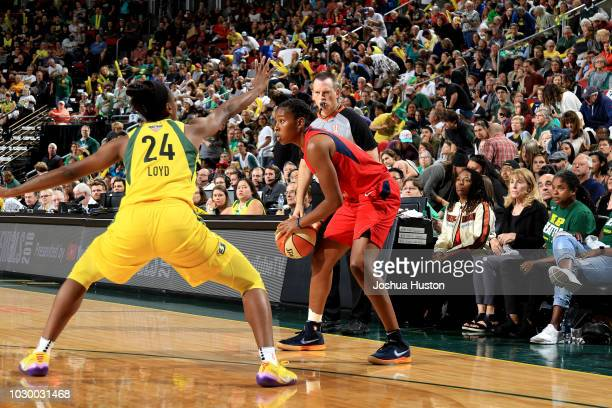 Ariel Atkins of the Washington Mystics handles the ball against the Seattle Storm during Game Two of the 2018 WNBA Finals on September 09 2018 at...