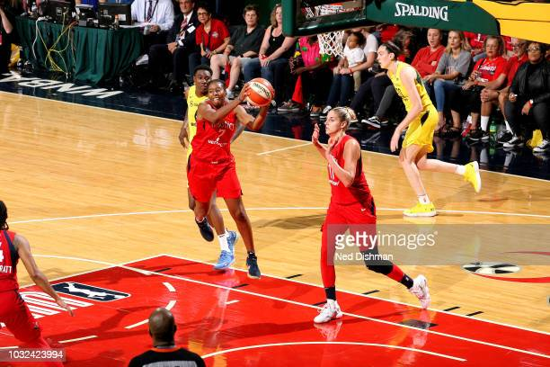 Ariel Atkins of the Washington Mystics handles the ball against the Seattle Storm during Game Three of the 2018 WNBA Finals on September 12 2018 at...