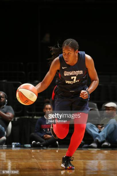 Ariel Atkins of the Washington Mystics handles the ball against the Chicago Sky on June 19 2018 at Capital One Arena in Washington DC NOTE TO USER...