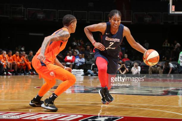 Ariel Atkins of the Washington Mystics handles the ball against the Connecticut Sun on June 26 2018 at Capital One Arena in Washington DC NOTE TO...