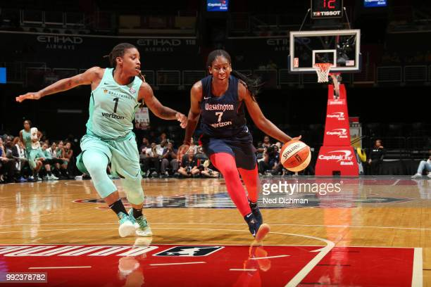 Ariel Atkins of the Washington Mystics handles the ball against the New York Liberty on July 5 2018 at the Verizon Center in Washington DC NOTE TO...