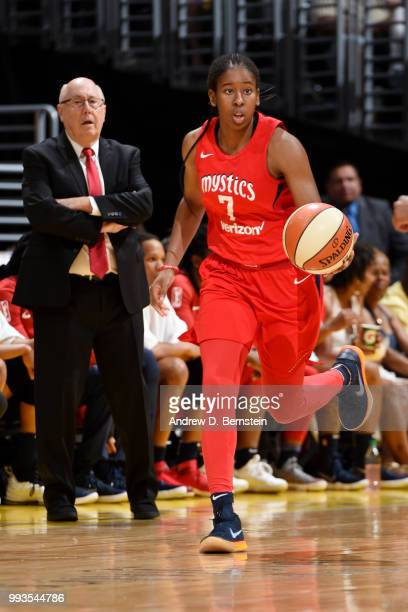 Ariel Atkins of the Washington Mystics handles the ball against the Los Angeles Sparks on July 7 2018 at STAPLES Center in Los Angeles California...