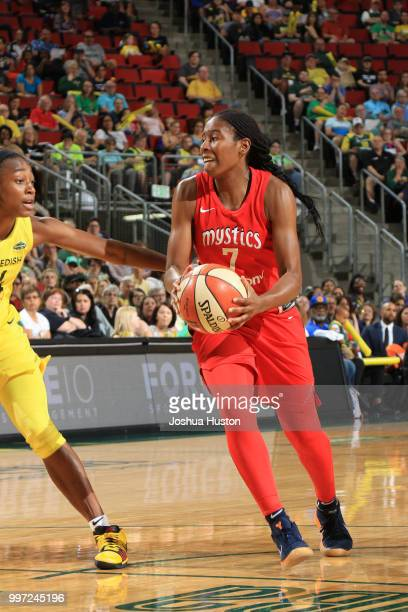 Ariel Atkins of the Washington Mystics handles the ball against the Seattle Storm on July 8 2018 at Key Arena in Seattle Washington NOTE TO USER User...