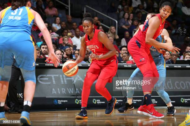 Ariel Atkins of the Washington Mystics handles the ball against the Chicago Sky on June 13 2018 at Capital One Arena in Washington DC NOTE TO USER...