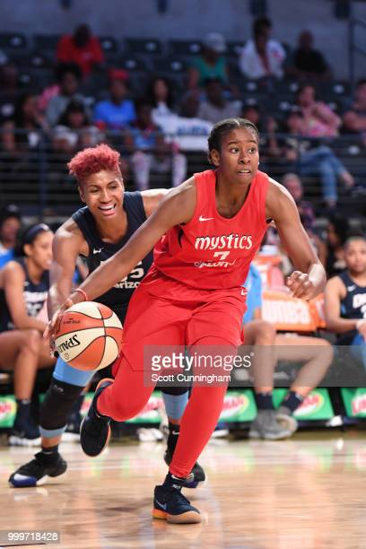 Ariel Atkins of the Washington Mystics handles the ball against the Atlanta Dream on July 15 2018 at Hank McCamish Pavilion in Atlanta Georgia NOTE...