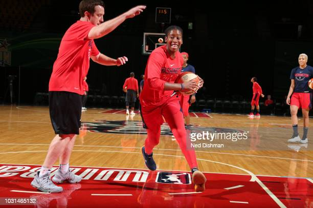 Ariel Atkins of the Washington Mystics handles the ball at practice during the 2018 WNBA Finals on September 11 2018 at George Mason University in...