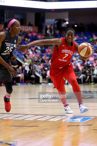 Ariel Atkins of the Washington Mystics handles the ball during the game against the Dallas Wings on August 05 2018 at College Park Center in...
