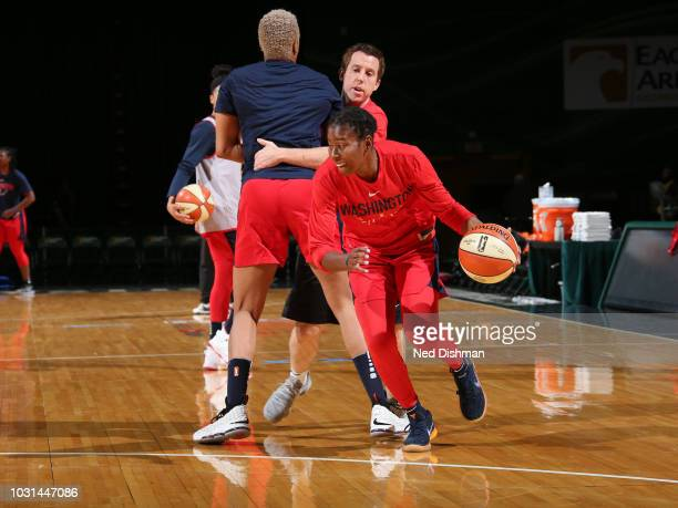 Ariel Atkins of the Washington Mystics handles the ball during the 2018 WNBA Finals practice on September 11 2018 at George Mason University in...