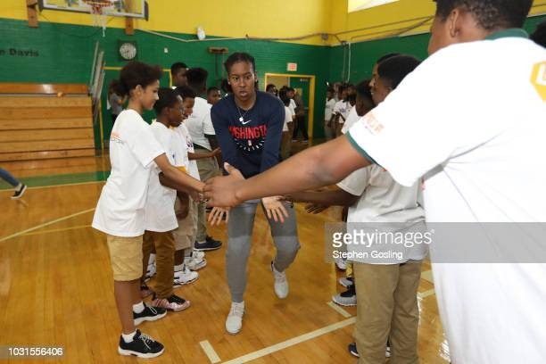 Ariel Atkins of the Washington Mystics is introduced during the 2018 Jr WNBA Clinic on September 11 2018 at Hart Middle School in Washington DC NOTE...