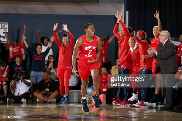 Ariel Atkins of the Washington Mystics reacts during the game against the Atlanta Dream during Game Four of the WNBA Semifinals on September 2 2018...