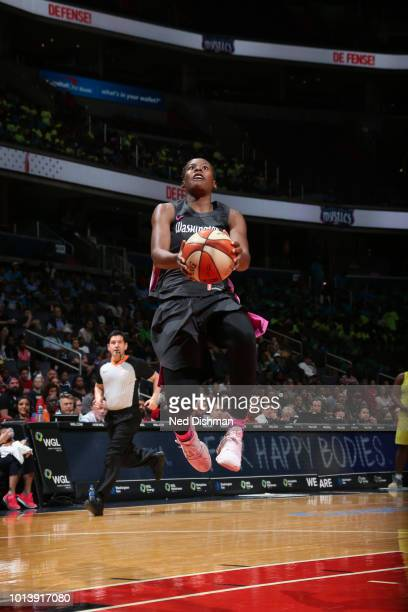 Ariel Atkins of the Washington Mystics shoots against the Seattle Storm during a game played on August 9 2018 at the Capital One Arena in Washington...