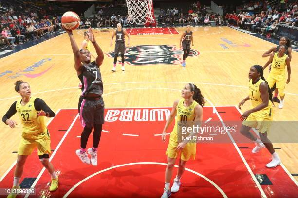 Ariel Atkins of the Washington Mystics shoots against the Seattle Storm on August 9 2018 at the Capital One Arena in Washington DC NOTE TO USER User...