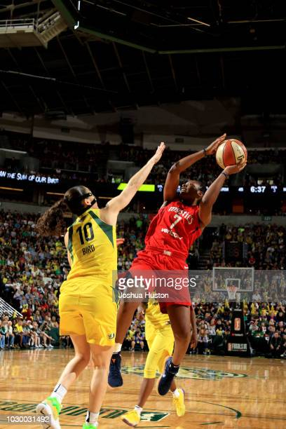 Ariel Atkins of the Washington Mystics shoots against the Seattle Storm during Game Two of the 2018 WNBA Finals on September 09 2018 at KeyArena in...