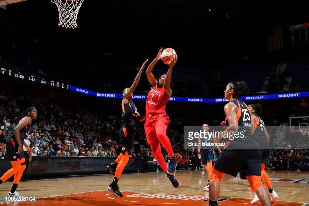 Ariel Atkins of the Washington Mystics shoots the ball against the Chicago Sky on July 24 2018 at the Mohegan Sun Arena in Uncasville Connecticut...