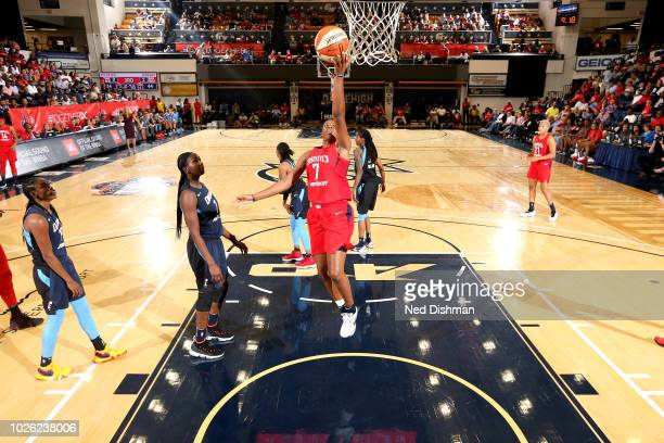 Ariel Atkins of the Washington Mystics shoots the ball against the Atlanta Dream during Game Three of the 2018 WNBA Semifinals on August 31 2018 at...