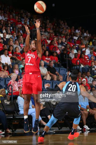 Ariel Atkins of the Washington Mystics shoots the ball against the Atlanta Dream during Game Four of the WNBA Semifinals on September 2 2018 at the...