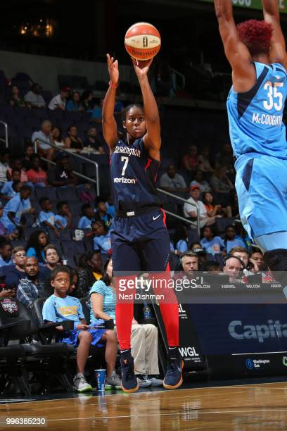 Ariel Atkins of the Washington Mystics shoots the ball against the Atlanta Dream on July 11 2018 at Capital One Arena in Washington DC NOTE TO USER...