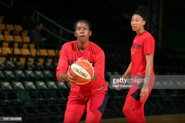 Ariel Atkins of the Washington Mystics shoots the ball at practice during the 2018 WNBA Finals on September 11 2018 at George Mason University in...