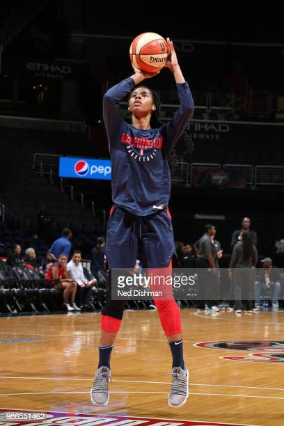 Ariel Atkins of the Washington Mystics shoots the ball before the game against the New York Liberty on June 28 2018 at Capital One Arena in...