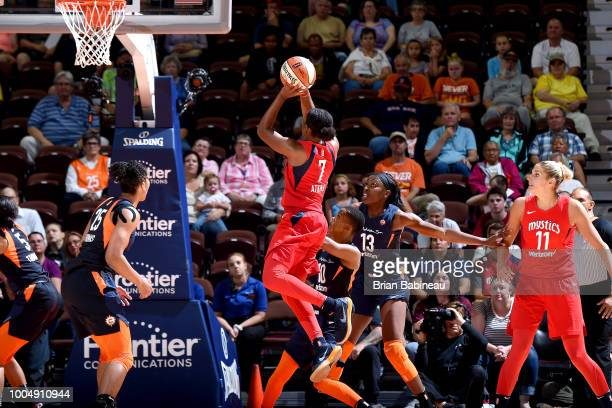 Ariel Atkins of the Washington Mystics shoots the ball during the game against the Connecticut Sun on July 24 2018 at the Mohegan Sun Arena in...