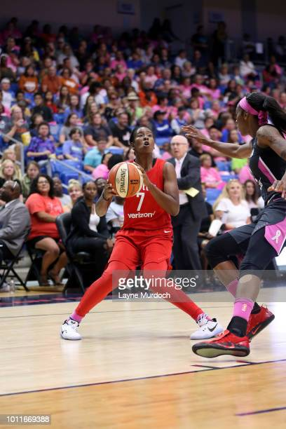 Ariel Atkins of the Washington Mystics shoots the ball during the game against the Dallas Wings on August 05 2018 at College Park Center in Arlington...