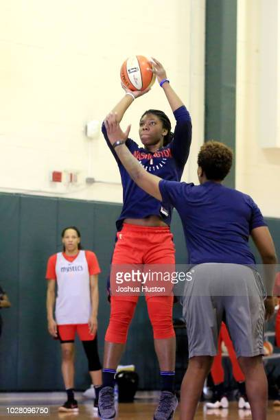 Ariel Atkins of the Washington Mystics shoots the ball during the 2018 WNBA Finals Practice on September 6 2018 at Seattle Pacific University in...