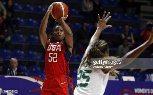 Ariel Atkins of USA in action against Victoria Macaulay of Nigeria during the FIBA Women's Olympic Qualifying Tournament 2020 Group A match between...