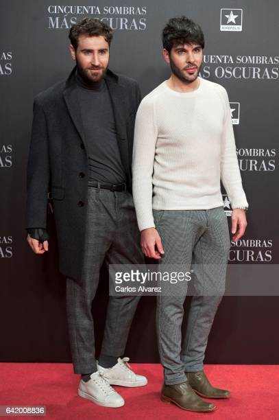 Ariel Dieguez and Ariel Medeiro, also known as 'Los Arys', attend 'Fifty Shades Darker' premiere at Kinepolis cinema on February 8, 2017 in Madrid,...