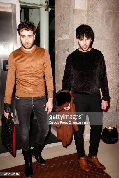 Ariel Dieguez and Ariel Medeiro, also known as 'Los Arys' attend the Roberto Verino show during the Mercedes-Benz Madrid Fashion Week Autumn/Winter...