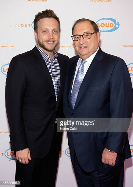Ariel Foxman and Abraham Foxman attend the 13th annual Live Out Loud Young Trailblazers Benefit gala at The Times Center on April 28 2014 in New York...