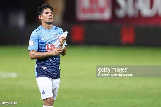 Ariel Francisco Rodriguez Araya of Bangkok Glass FC shows dejection after the Thai League 1 match between Bangkok Glass FC and Buriram United at LEO...