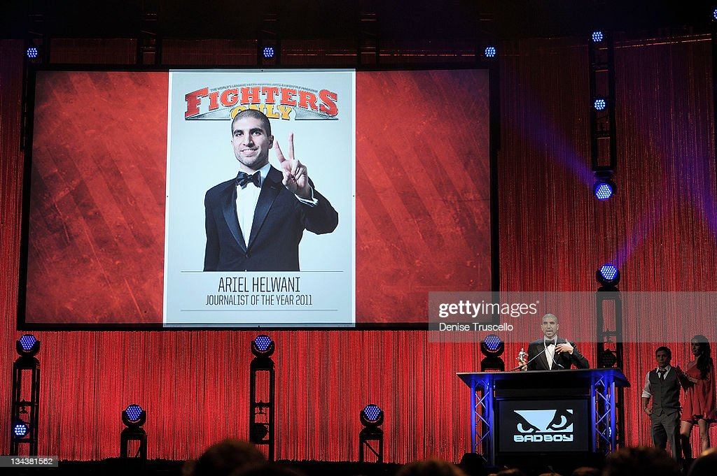 Ariel Helwani accepts the MMA Journalist of the Year Award at the 2011 Fighters Only World Mixed Martial Arts Awards at the Palms Casino Resort on November 30, 2011 in Las Vegas, Nevada.