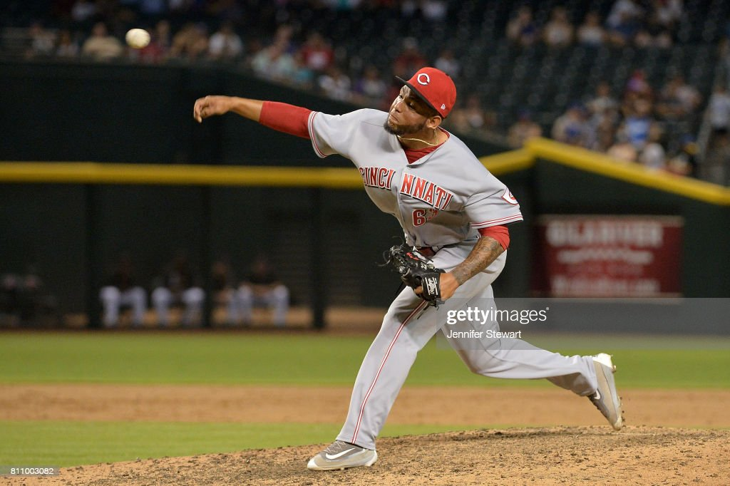 Ariel Hernandez #63 of the Cincinnati Reds delivers a pitch in the ninth inning of the MLB game against the Arizona Diamondbacks at Chase Field on July 8, 2017 in Phoenix, Arizona. The Cincinnati Reds won 7-0.