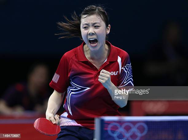 Ariel Hsing of the United States celebrates winning her Women's Singles second round match against Lian Xia Ni of Luxembourg on Day 2 of the London...