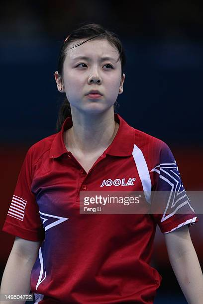 Ariel Hsing of the United States looks on in her Women's Singles Table Tennis third round match against Xiaoxia Li of China on Day 2 of the London...