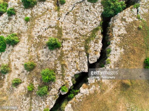 ariel image of crevasses caused by earthquakes - crevasse stock photos and pictures