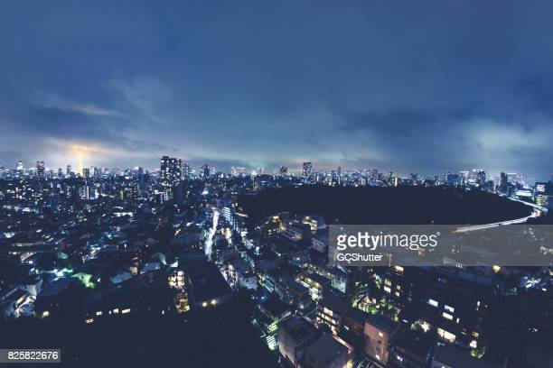 ariel image of nighttime in tokyo - tokyo midtown stock pictures, royalty-free photos & images