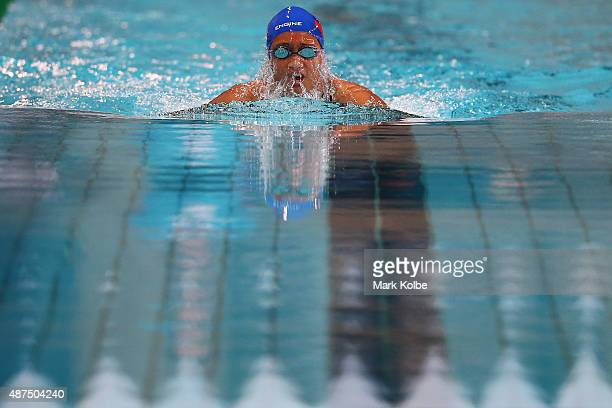 Ariel Ioane of Samoa competes in the girls 200m Breaststroke final at the aquatic centre of the Tuanaimato Sports Facility on day four of the Samoa...