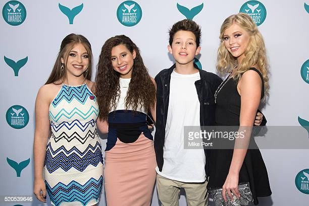 Ariel Martin Ariana Trejox Jacob Sartor and Loren Beech attend the 8th Annual Shorty Awards at The New York Times Center on April 11 2016 in New York...