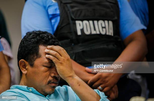Ariel Mercado gestures during the final hearing of his trial after he was found guilty of stabbing and beheading his exwife Karla Estrada and was...