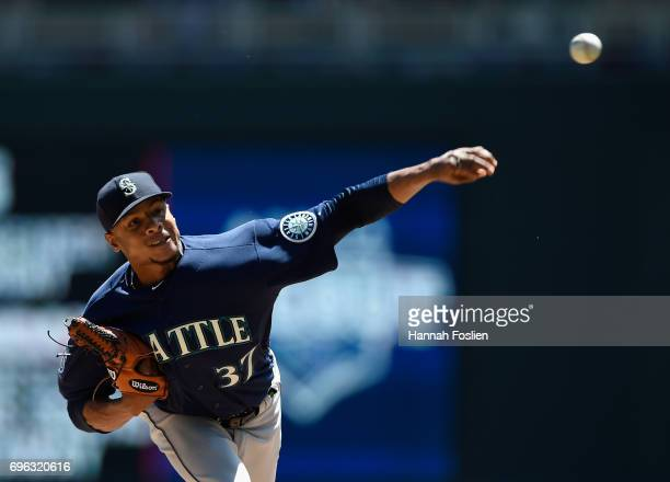 Ariel Miranda of the Seattle Mariners delivers a pitch against the Minnesota Twins during the first inning of the game on June 15 2017 at Target...