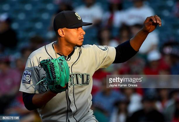 Ariel Miranda of the Seattle Mariners in the first inning of the game against the Los Angeles Angels of Anaheim at Angel Stadium of Anaheim on June...