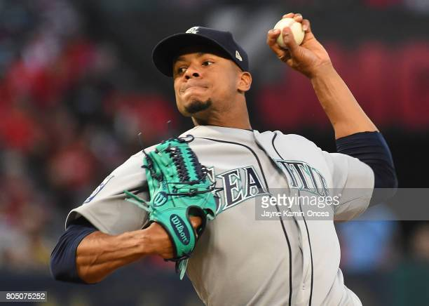 Ariel Miranda of the Seattle Mariners in the third inning of the game against the Los Angeles Angels of Anaheim at Angel Stadium of Anaheim on June...