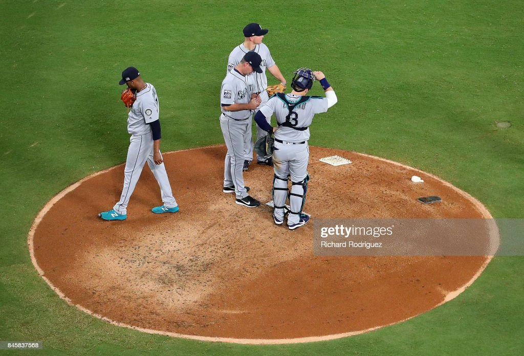 Ariel Miranda #37 of the Seattle Mariners leaves the game in the thirs inning of a game against the Texas Rangers at Globe Life Park in Arlington on September 11, 2017 in Arlington, Texas.